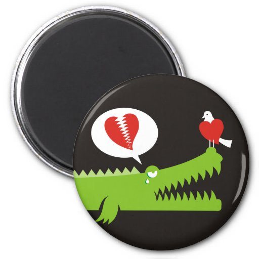 Alligator in Love Fridge Magnets