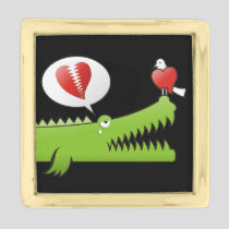 Alligator in Love Gold Finish Lapel Pin
