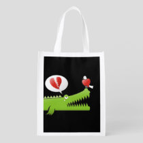 Alligator in Love Grocery Bag