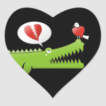 Alligator in Love Heart Sticker