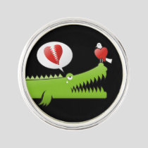 Alligator in Love Lapel Pin
