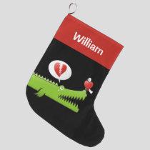 Alligator in Love Large Christmas Stocking