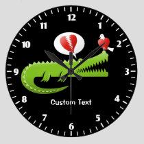 Alligator in Love Large Clock
