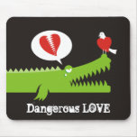 Alligator in Love Mouse Pads