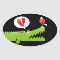 Alligator in Love Oval Sticker