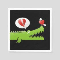 Alligator in Love Paper Napkins