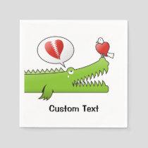Alligator in Love Paper Napkins