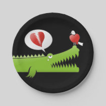 Alligator in Love Paper Plate