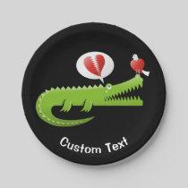 Alligator in Love Paper Plate