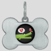 Alligator in Love Pet ID Tag