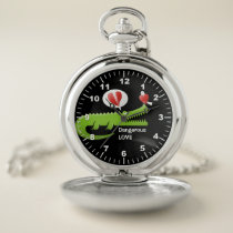 Alligator in Love Pocket Watch