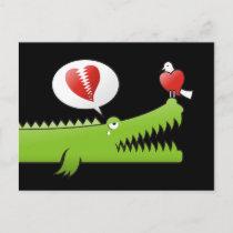 Alligator in Love Postcard