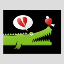 Alligator in Love Postcard