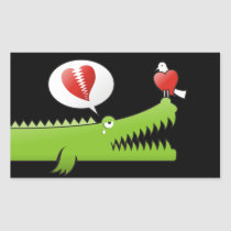 Alligator in Love Rectangular Sticker