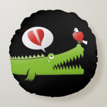Alligator in Love Round Pillow