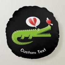 Alligator in Love Round Pillow