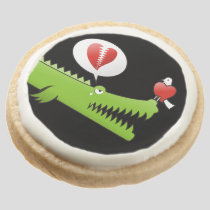 Alligator in Love Round Shortbread Cookie
