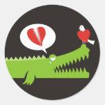 Alligator in Love Round Stickers
