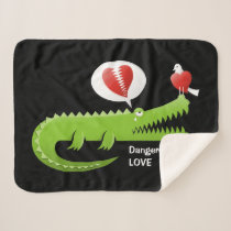 Alligator in Love Sherpa Blanket