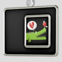 Alligator in Love Silver Plated Framed Ornament