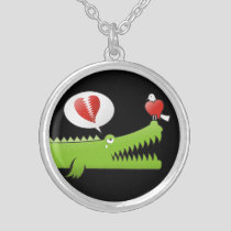 Alligator in Love Silver Plated Necklace