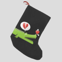 Alligator in Love Small Christmas Stocking