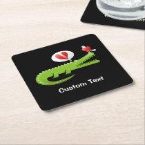 Alligator in Love Square Paper Coaster