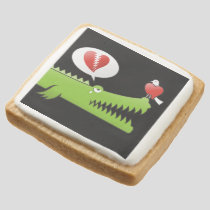 Alligator in Love Square Shortbread Cookie