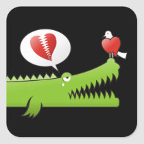 Alligator in Love Square Sticker
