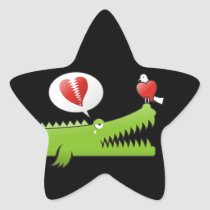 Alligator in Love Star Sticker