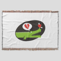Alligator in Love Throw Blanket