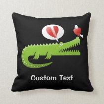 Alligator in Love Throw Pillow