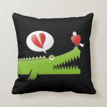 Alligator in Love Throw Pillow