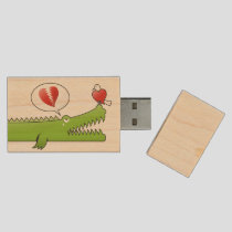 Alligator in Love Wood Flash Drive