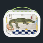 """Alligator in the bathtub lunch box<br><div class=""""desc"""">If you had an alligator as a pet, you&#39;d put him in the bathtub too, of course! This is part of my series of watercolor illustrations for a book I wrote. It goes along with my Backyard Elephant, and Seesaw Rhino. I drew the Alligator in by hand with pencil and...</div>"""
