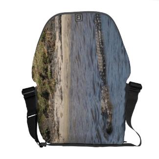Alligator in the Water Rickshaw Messenger Bag