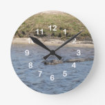 Alligator in the Water Wall Clock
