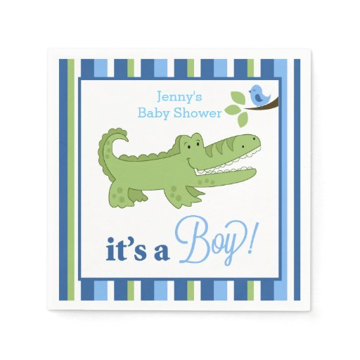 Alligator It's a Boy Custom Napkin