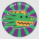 Hand shaped Alligator Jaw Classic Round Sticker