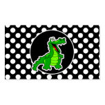 Alligator on Black and White Polka Dots Double-Sided Standard Business Cards (Pack Of 100)