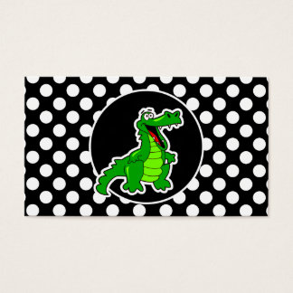 Alligator on Black and White Polka Dots Business Card