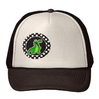 Alligator on Black and White Polka Dots Mesh Hat