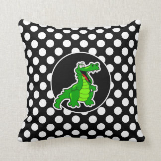 Alligator on Black and White Polka Dots Pillow