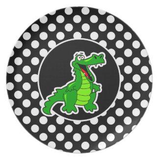 Alligator on Black and White Polka Dots Plate