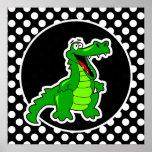 Alligator on Black and White Polka Dots Poster