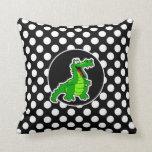 Alligator on Black and White Polka Dots Throw Pillow