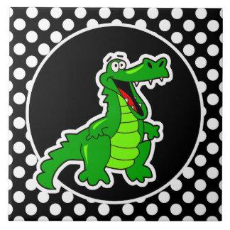 Alligator on Black and White Polka Dots Ceramic Tile
