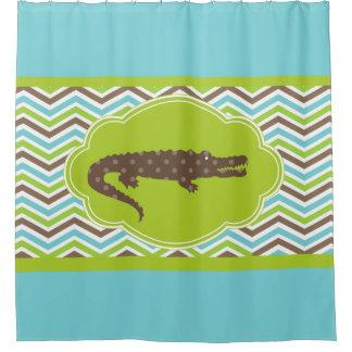 Alligator On Blue Green Brown White Chevron Shower Curtain