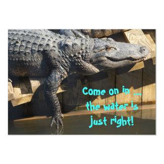 Alligator On Dock 5x7 Paper Invitation Card