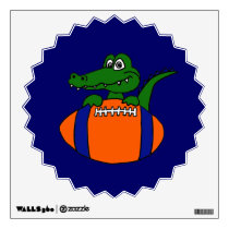 Alligator on Football Wall Decal